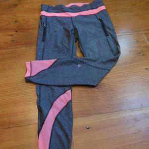 LULULEMON 8 Charcoal & Peach Netting Legging